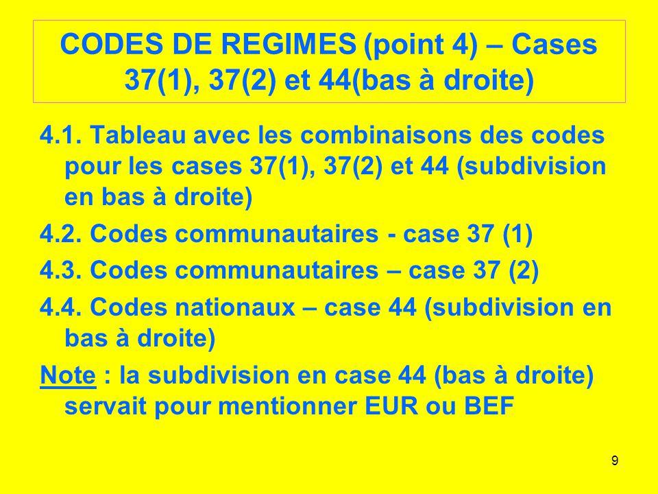 60 Case 30 – Localisation des marchandises Application de lappendice 8 avec les UN/LOCODES alors quon employait les codes postaux par le passé.