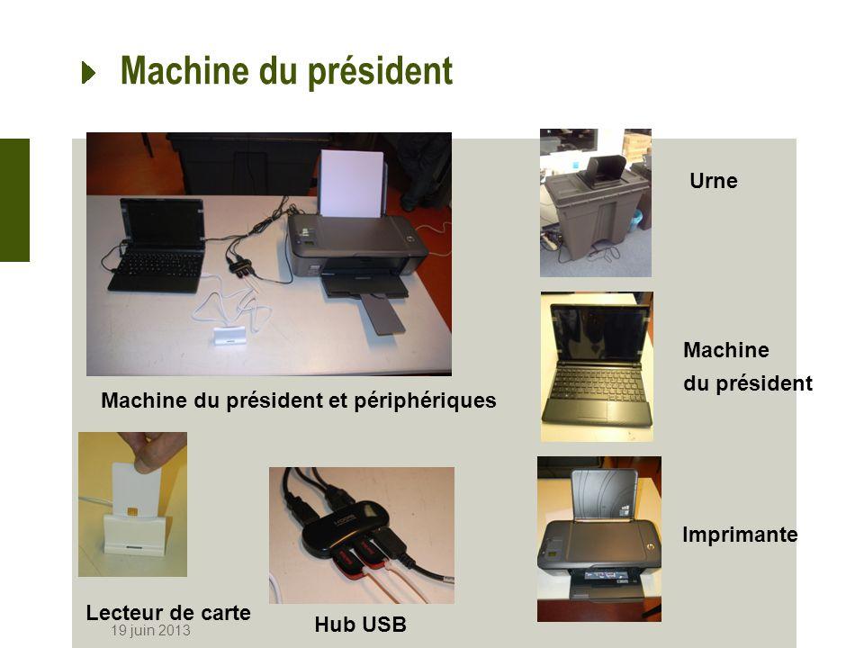 Machine à voter 19 juin 2013 Machine à voter Boîtier dalarme Vue arrière Imprimante Imprimante et lecteur de carte Clef