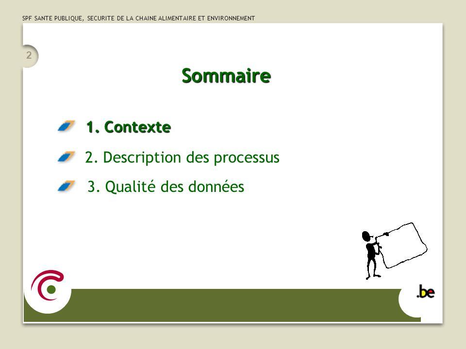 SPF SANTE PUBLIQUE, SECURITE DE LA CHAINE ALIMENTAIRE ET ENVIRONNEMENT 2 Sommaire 1.