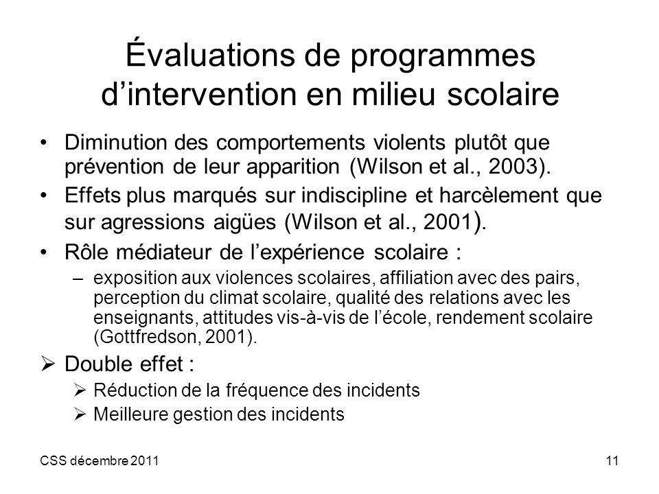 CSS décembre 201111 Évaluations de programmes dintervention en milieu scolaire Diminution des comportements violents plutôt que prévention de leur app