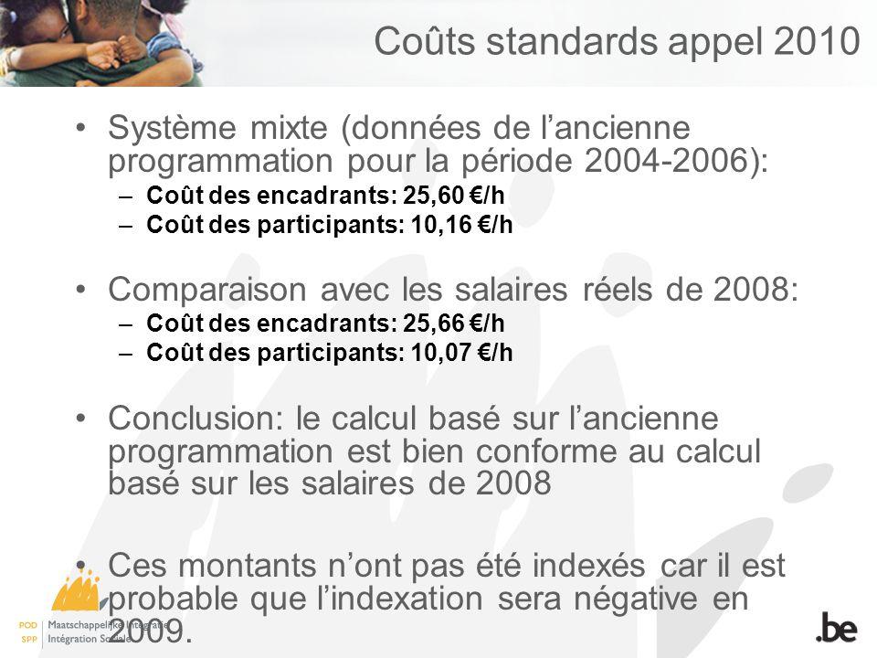 Coûts standards appel 2010 Système mixte (données de lancienne programmation pour la période 2004-2006): –Coût des encadrants: 25,60 /h –Coût des participants: 10,16 /h Comparaison avec les salaires réels de 2008: –Coût des encadrants: 25,66 /h –Coût des participants: 10,07 /h Conclusion: le calcul basé sur lancienne programmation est bien conforme au calcul basé sur les salaires de 2008 Ces montants nont pas été indexés car il est probable que lindexation sera négative en 2009.
