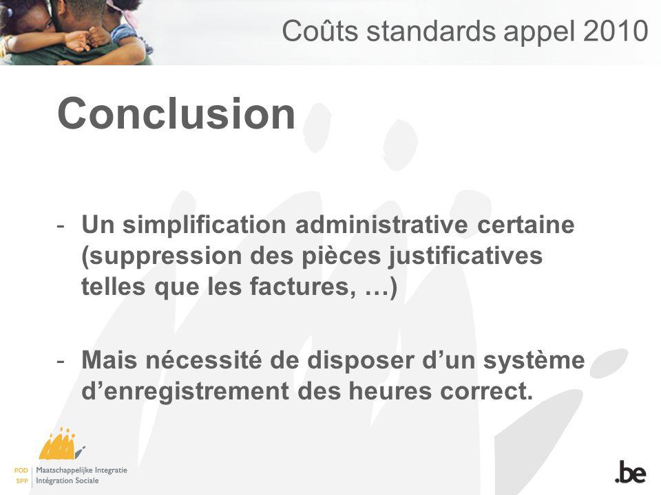Coûts standards appel 2010 Conclusion -Un simplification administrative certaine (suppression des pièces justificatives telles que les factures, …) -Mais nécessité de disposer dun système denregistrement des heures correct.