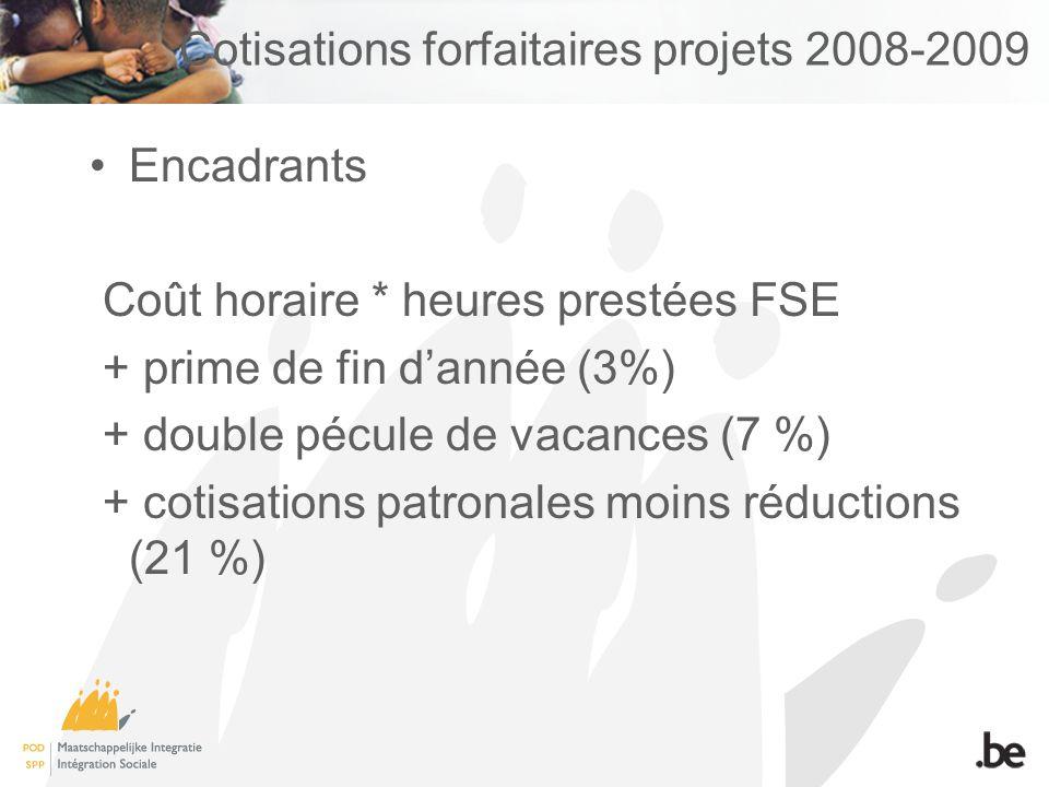 Cotisations forfaitaires projets 2008-2009 Encadrants Coût horaire * heures prestées FSE + prime de fin dannée (3%) + double pécule de vacances (7 %) + cotisations patronales moins réductions (21 %)