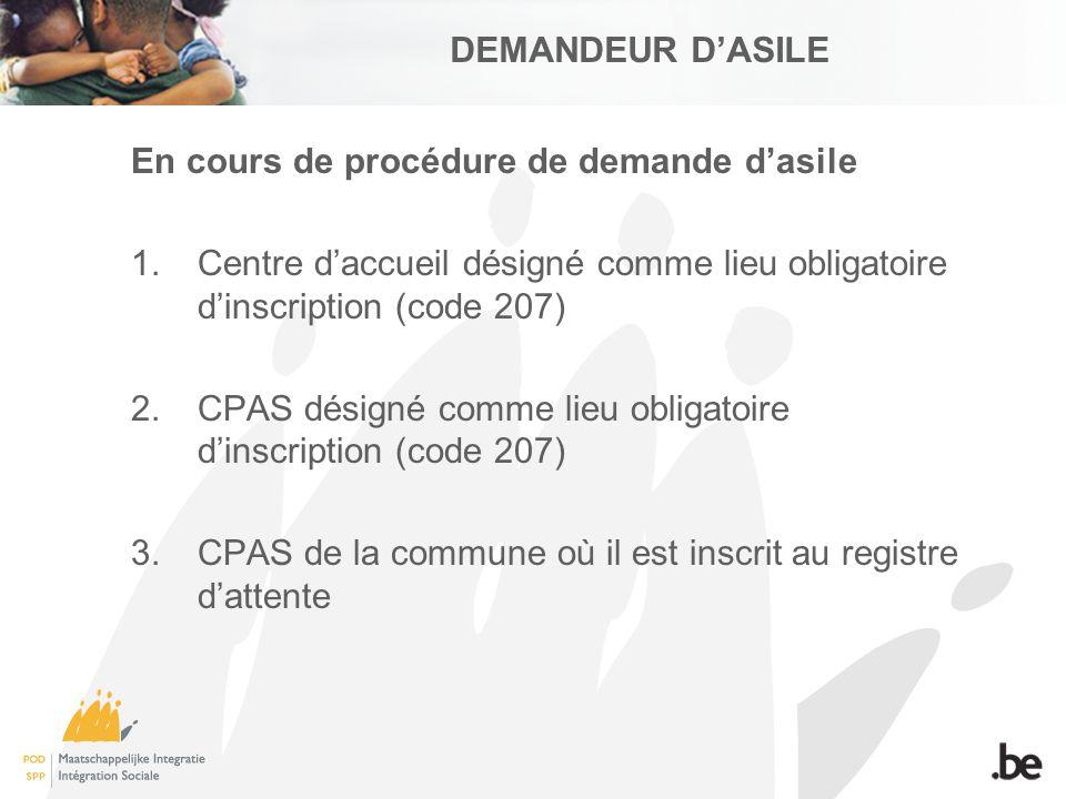 DEMANDEUR DASILE En cours de procédure de demande dasile 1.