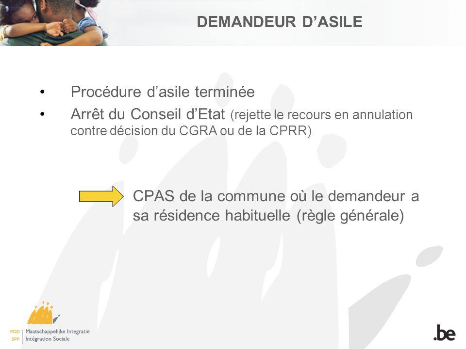 DEMANDEUR DASILE Procédure dasile terminée Arrêt du Conseil dEtat (rejette le recours en annulation contre décision du CGRA ou de la CPRR) CPAS de la commune où le demandeur a sa résidence habituelle (règle générale)