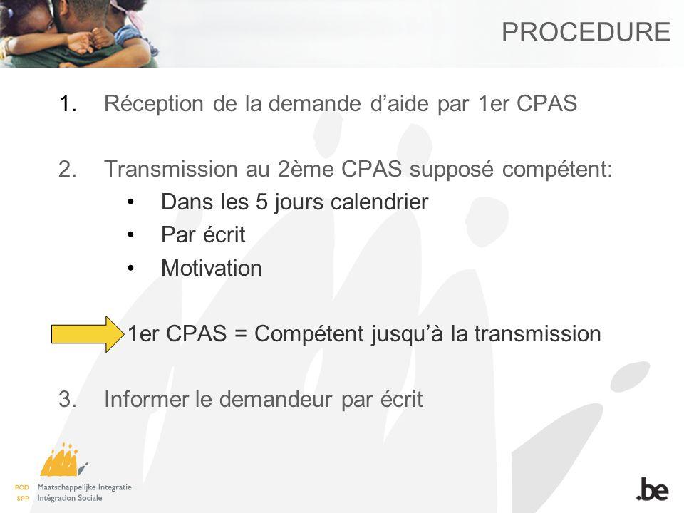 PROCEDURE 1.Réception de la demande daide par 1er CPAS 2.