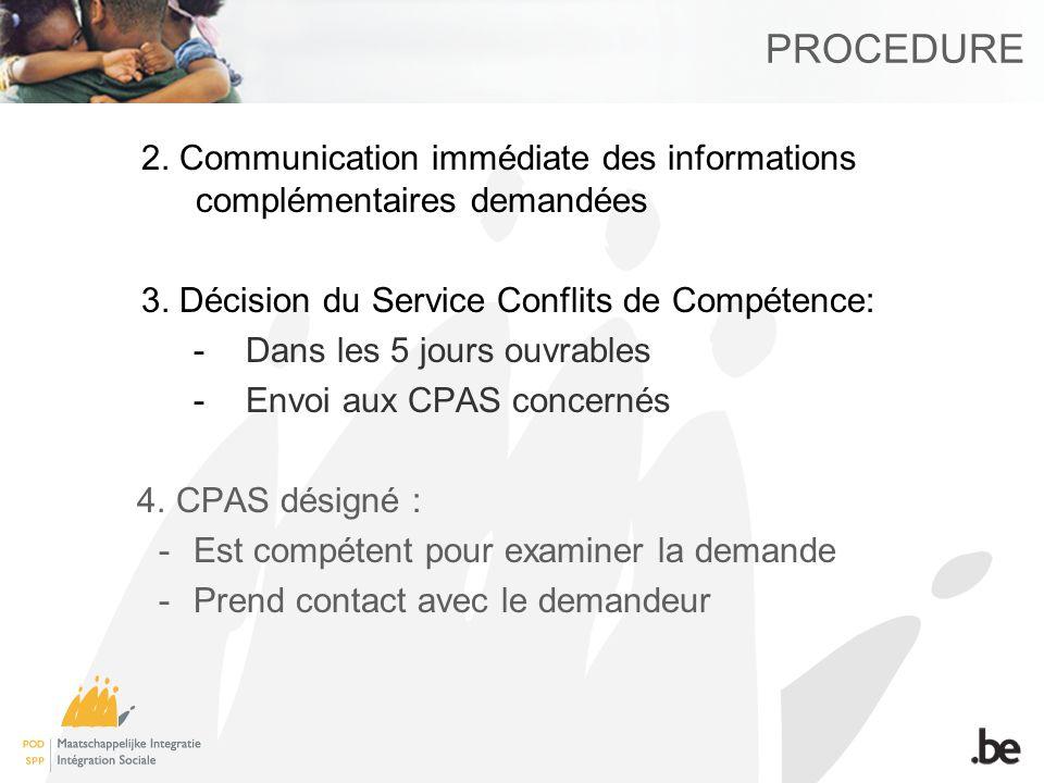 PROCEDURE 2. Communication immédiate des informations complémentaires demandées 3.