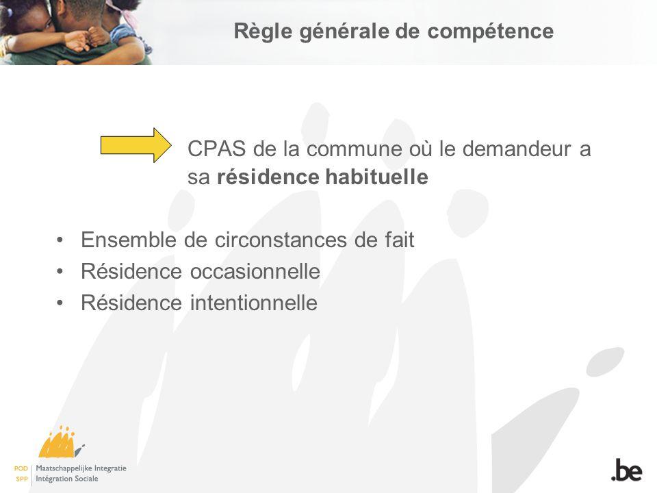 Règle générale de compétence CPAS de la commune où le demandeur a sa résidence habituelle Ensemble de circonstances de fait Résidence occasionnelle Résidence intentionnelle