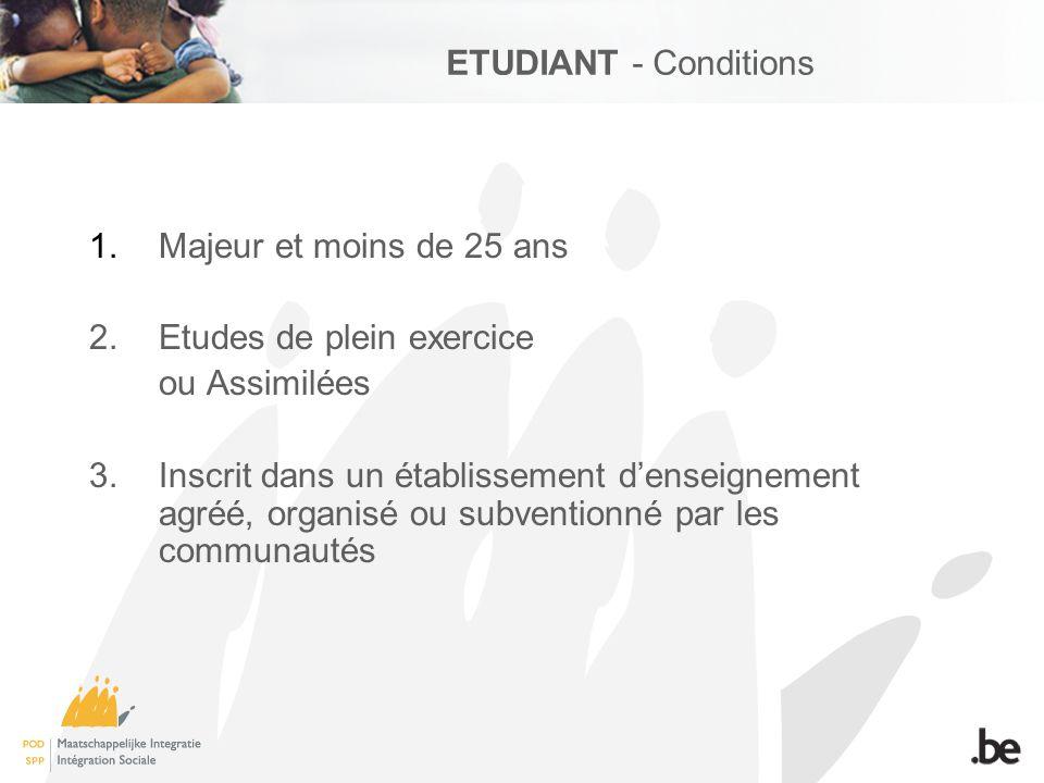 ETUDIANT - Conditions 1.Majeur et moins de 25 ans 2.
