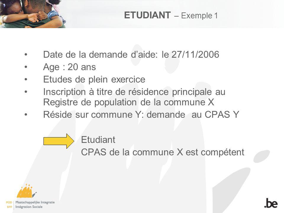 Etudiant 20 ans Plein Exercice Inscription Rés.princ Reg.pop.