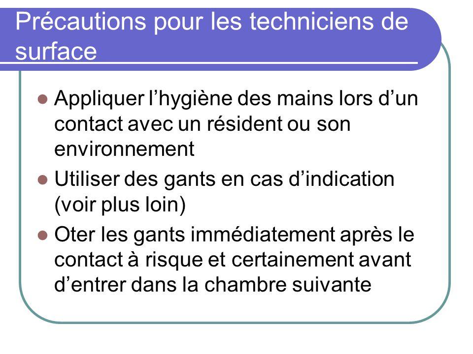 Précautions pour les techniciens de surface Appliquer lhygiène des mains lors dun contact avec un résident ou son environnement Utiliser des gants en