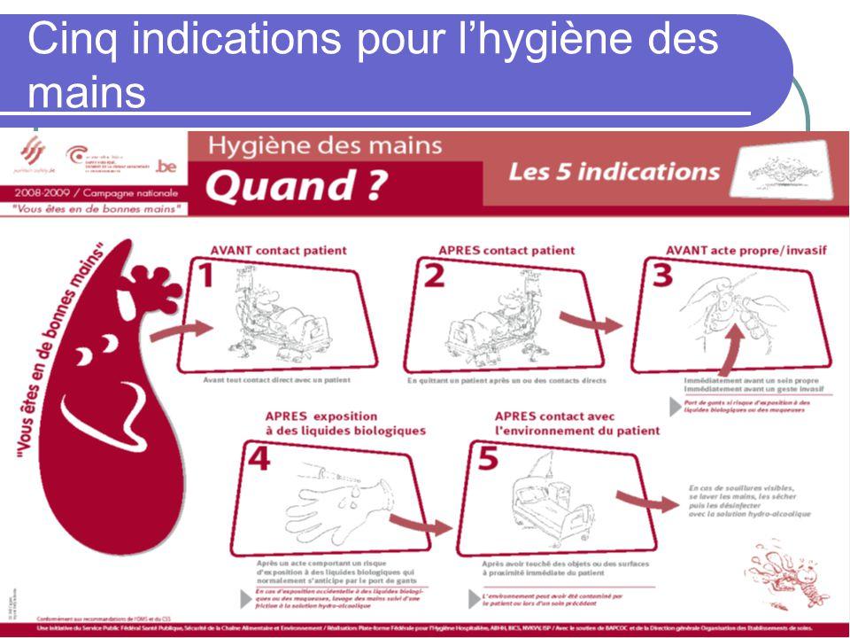Cinq indications pour lhygiène des mains