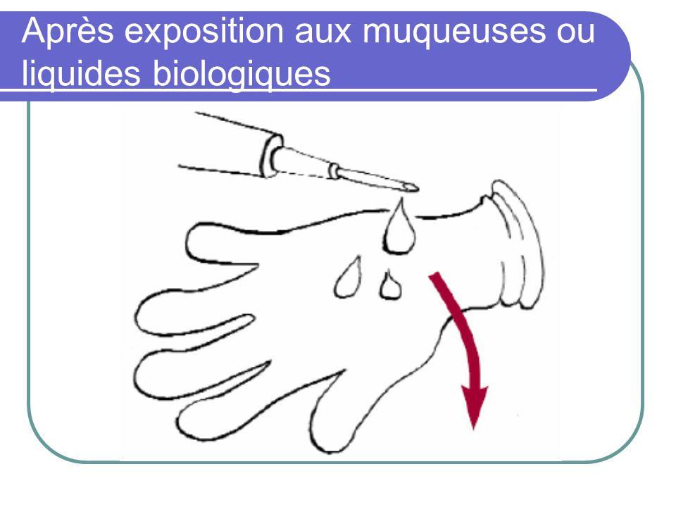 Après exposition aux muqueuses ou liquides biologiques