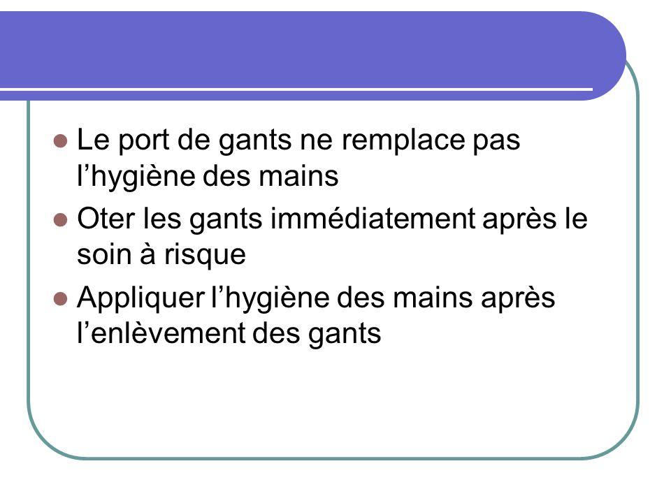 Le port de gants ne remplace pas lhygiène des mains Oter les gants immédiatement après le soin à risque Appliquer lhygiène des mains après lenlèvement
