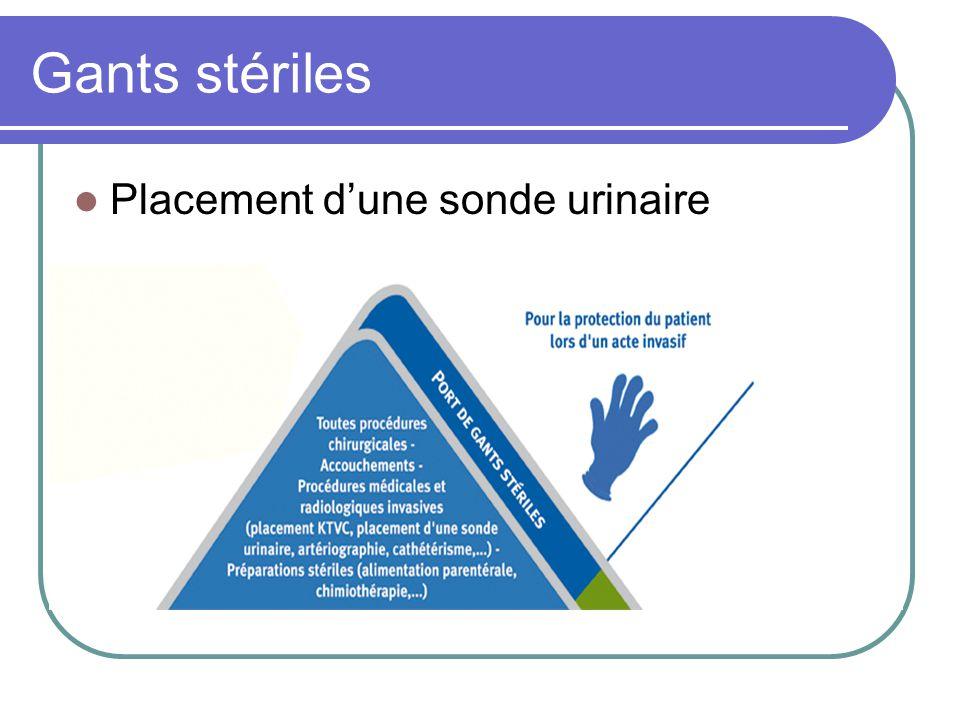 Gants stériles Placement dune sonde urinaire
