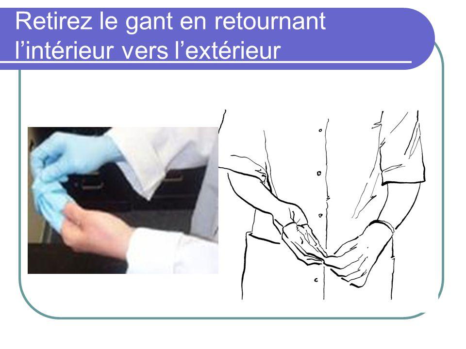 Retirez le gant en retournant lintérieur vers lextérieur