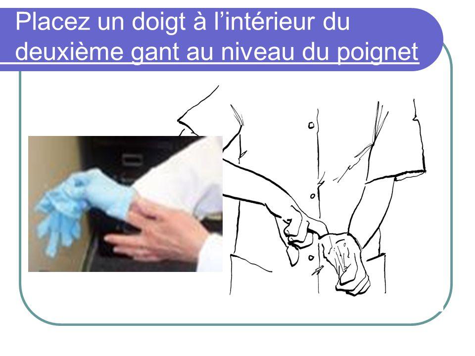 Placez un doigt à lintérieur du deuxième gant au niveau du poignet
