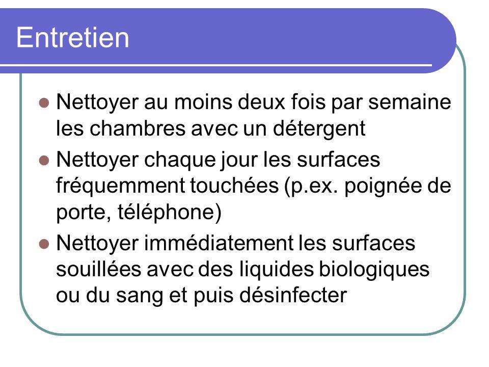 Entretien Nettoyer au moins deux fois par semaine les chambres avec un détergent Nettoyer chaque jour les surfaces fréquemment touchées (p.ex. poignée