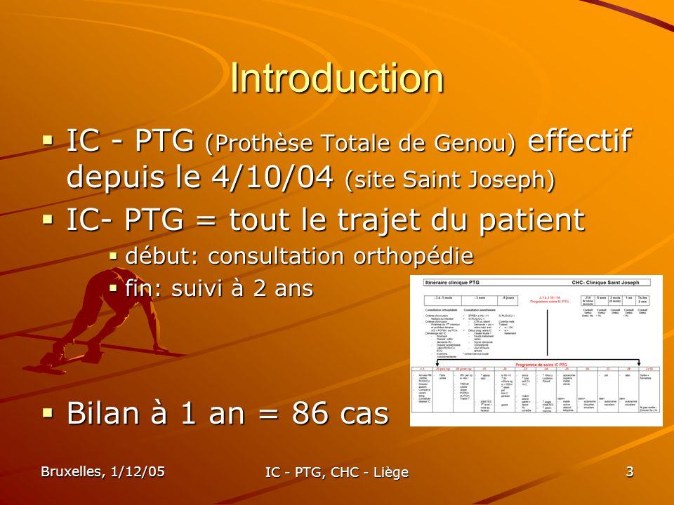 Bruxelles, 1/12/05 IC - PTG, CHC - Liège 14 Objectifs « sortie patient » Autonomie marche 1 ou 2 cannes Autonomie marche 1 ou 2 cannes 70% à J6 (=IC) Autonomie escaliers Autonomie escaliers 72% à J8 (= IC) Plaie sèche Plaie sèche 96% des patients à J7 90° KINETEC 90° KINETEC 91% à J8