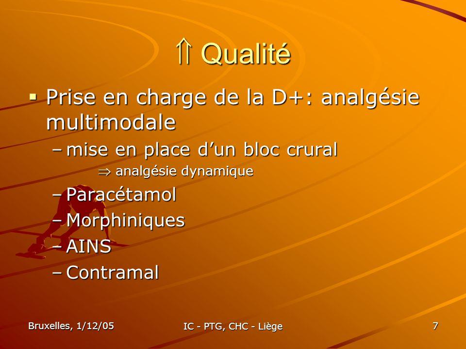 Bruxelles, 1/12/05 IC - PTG, CHC - Liège 7 Qualité Qualité Prise en charge de la D+: analgésie multimodale Prise en charge de la D+: analgésie multimo