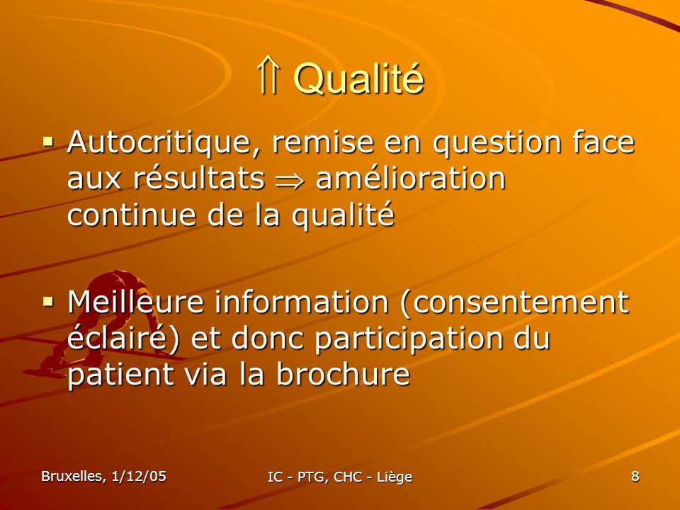 Bruxelles, 1/12/05 IC - PTG, CHC - Liège 8 Qualité Qualité Autocritique, remise en question face aux résultats amélioration continue de la qualité Aut