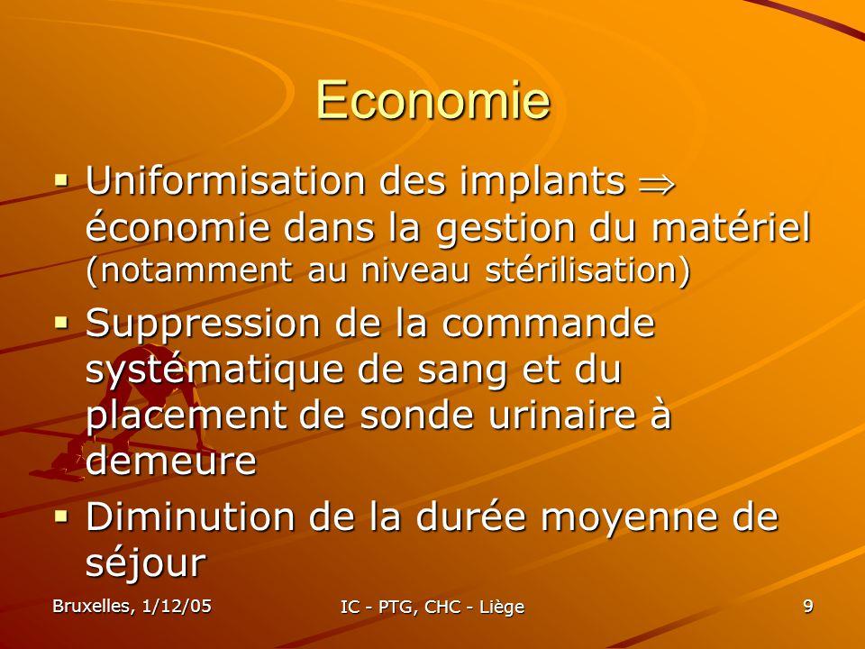 Bruxelles, 1/12/05 IC - PTG, CHC - Liège 9 Economie Uniformisation des implants économie dans la gestion du matériel (notamment au niveau stérilisatio