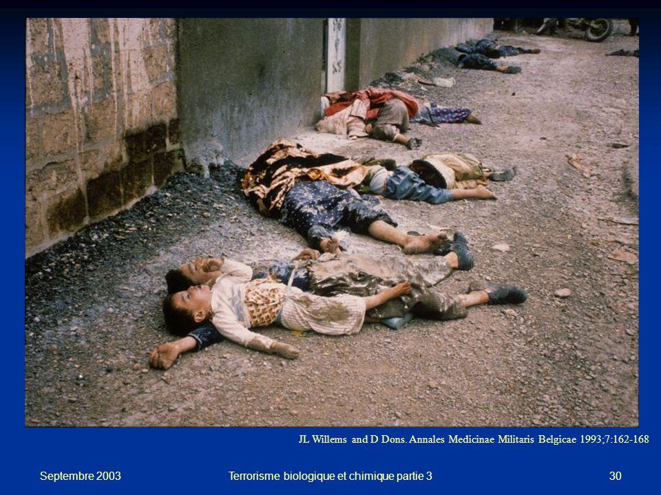 Septembre 2003 Terrorisme biologique et chimique partie 330 JL Willems and D Dons.