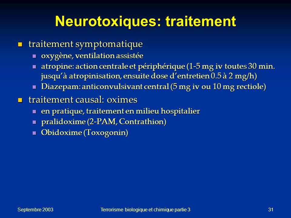 Septembre 2003 Terrorisme biologique et chimique partie 331 Neurotoxiques: traitement traitement symptomatique traitement symptomatique oxygène, ventilation assistée oxygène, ventilation assistée atropine: action centrale et périphérique (1-5 mg iv toutes 30 min.