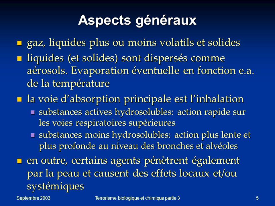 Septembre 2003 Terrorisme biologique et chimique partie 35 Aspects généraux gaz, liquides plus ou moins volatils et solides gaz, liquides plus ou moins volatils et solides liquides (et solides) sont dispersés comme aérosols.