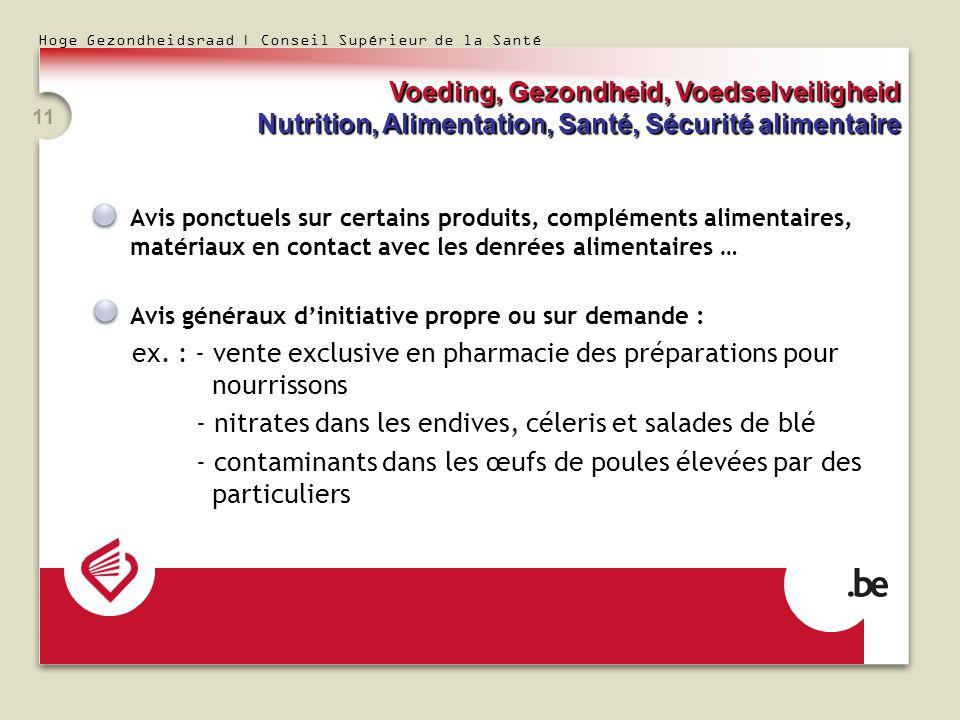 Hoge Gezondheidsraad | Conseil Supérieur de la Santé 11 Avis ponctuels sur certains produits, compléments alimentaires, matériaux en contact avec les