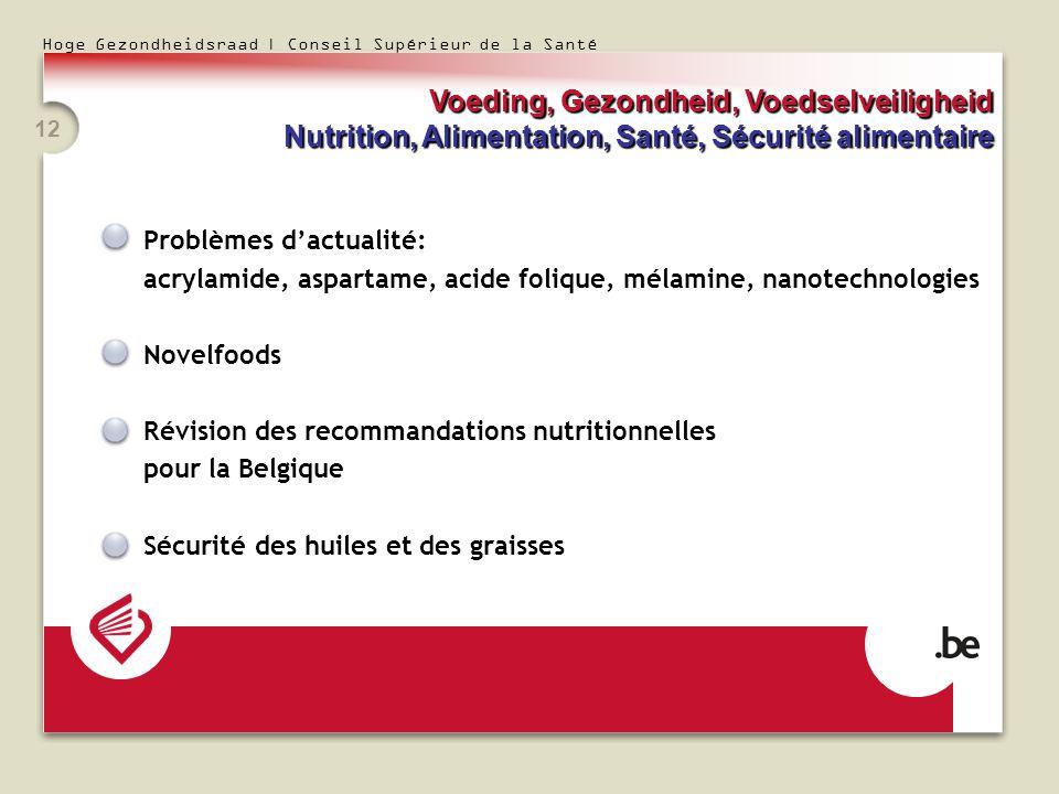 Hoge Gezondheidsraad | Conseil Supérieur de la Santé 12 Problèmes dactualité: acrylamide, aspartame, acide folique, mélamine, nanotechnologies Novelfo