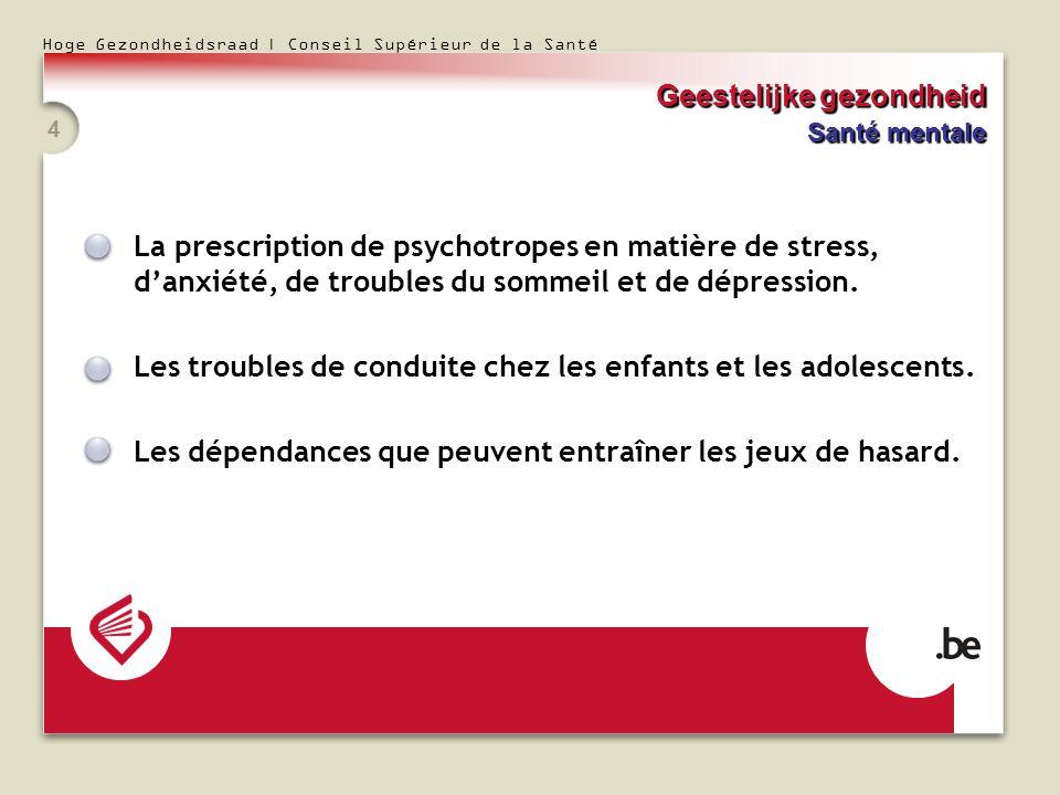Hoge Gezondheidsraad | Conseil Supérieur de la Santé 4 La prescription de psychotropes en matière de stress, danxiété, de troubles du sommeil et de dépression.