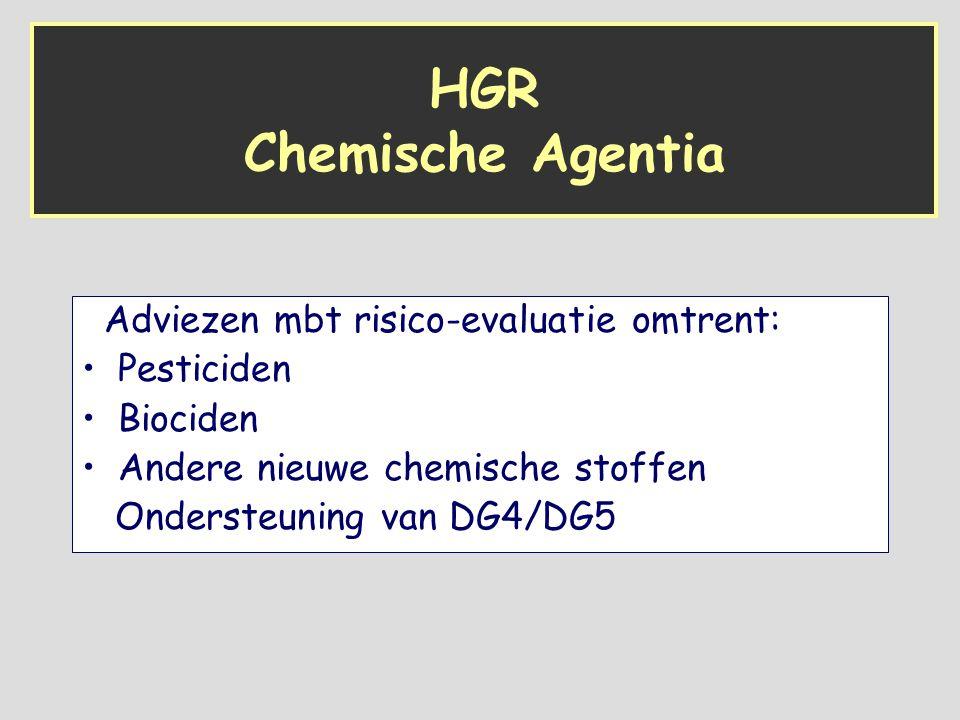 HGR Chemische Agentia Adviezen mbt risico-evaluatie omtrent: Pesticiden Biociden Andere nieuwe chemische stoffen Ondersteuning van DG4/DG5