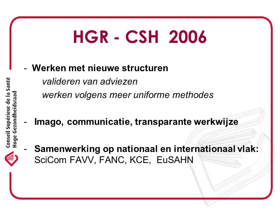 La mission du CSS Compte tenu de létat actuel de la science, le Conseil a pour mission de donner, sur demande ou de sa propre initiative, des avis, recommandations ou rapports indépendants en matière de santé publique dans le but de soutenir la politique en la matière Moniteur Belge 21 mars 2007, p 15948