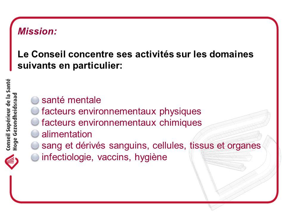 Mission: Le Conseil concentre ses activités sur les domaines suivants en particulier: - santé mentale - facteurs environnementaux physiques - facteurs environnementaux chimiques - alimentation - sang et dérivés sanguins, cellules, tissus et organes - infectiologie, vaccins, hygiène