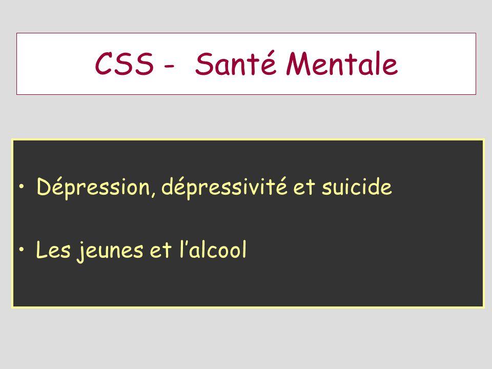 CSS - Santé Mentale Dépression, dépressivité et suicide Les jeunes et lalcool