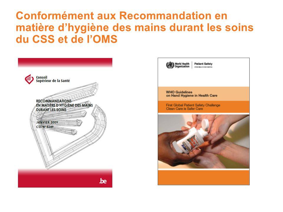 Conformément aux Recommandation en matière dhygiène des mains durant les soins du CSS et de lOMS