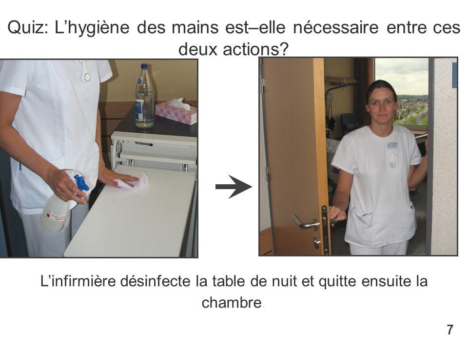 Linfirmière désinfecte la table de nuit et quitte ensuite la chambre. Quiz: Lhygiène des mains est–elle nécessaire entre ces deux actions? 7
