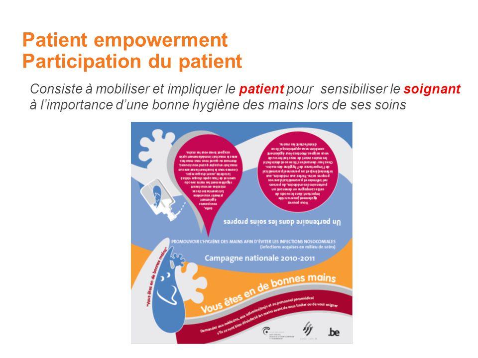 Patient empowerment Participation du patient Consiste à mobiliser et impliquer le patient pour sensibiliser le soignant à limportance dune bonne hygiène des mains lors de ses soins