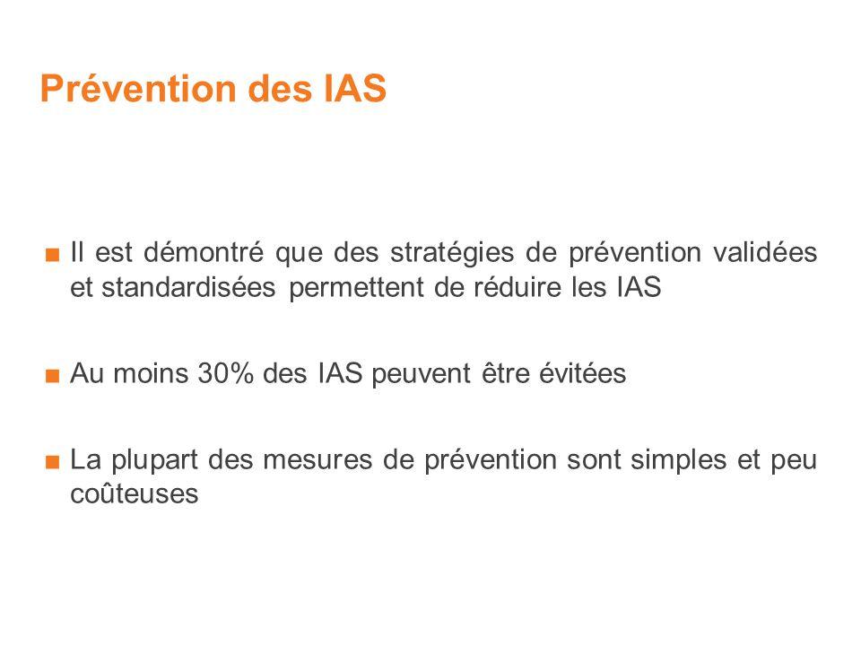 Prévention des IAS Il est démontré que des stratégies de prévention validées et standardisées permettent de réduire les IAS Au moins 30% des IAS peuvent être évitées La plupart des mesures de prévention sont simples et peu coûteuses