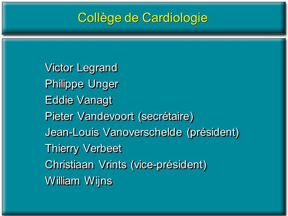 Collège de Cardiologie Victor Legrand Philippe Unger Eddie Vanagt Pieter Vandevoort (secrétaire) Jean-Louis Vanoverschelde (président) Thierry Verbeet
