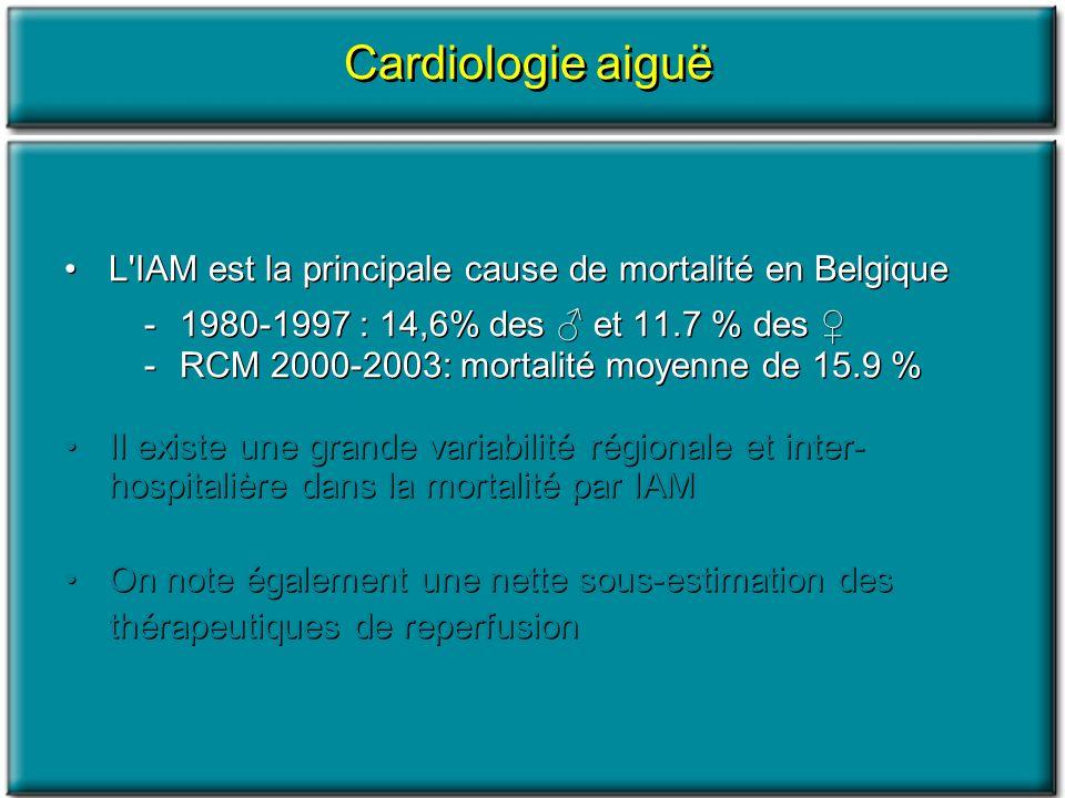Cardiologie aiguë L'IAM est la principale cause de mortalité en Belgique -1980-1997 : 14,6% des et 11.7 % des -RCM 2000-2003: mortalité moyenne de 15.