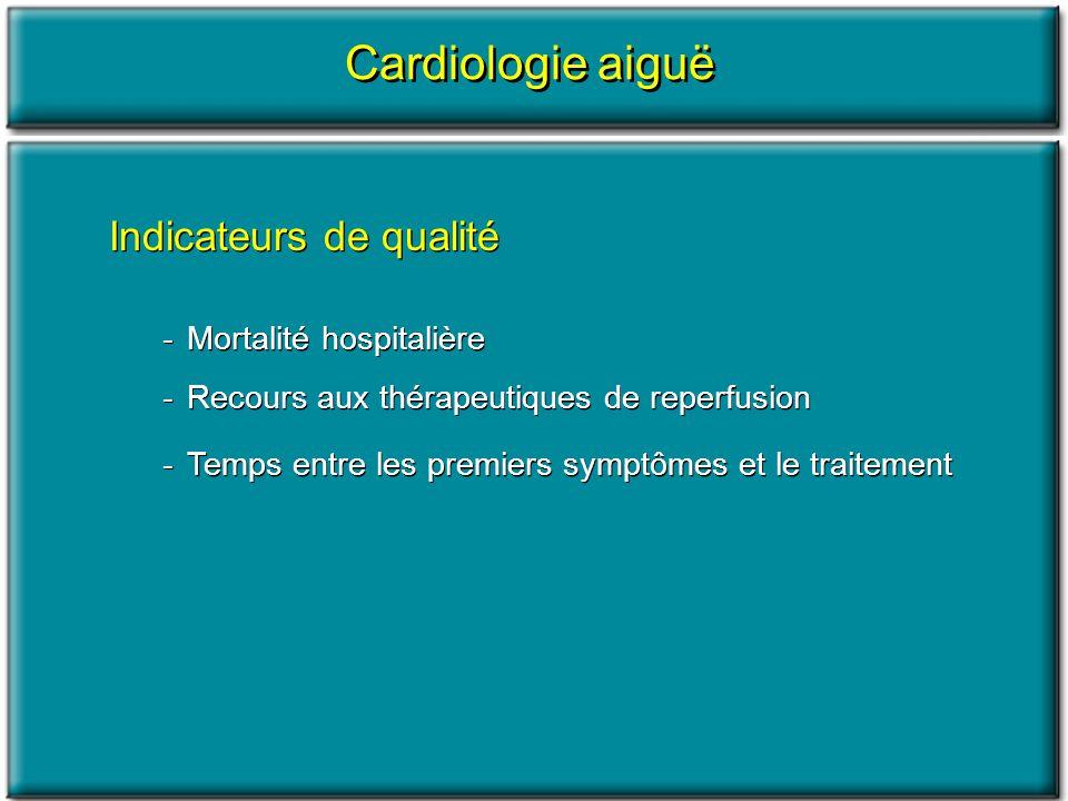Indicateurs de qualité -Mortalité hospitalière -Recours aux thérapeutiques de reperfusion -Temps entre les premiers symptômes et le traitement Indicat