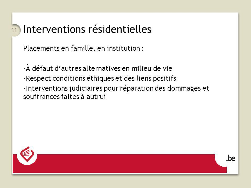 11 Interventions résidentielles Placements en famille, en institution : -À défaut dautres alternatives en milieu de vie -Respect conditions éthiques e