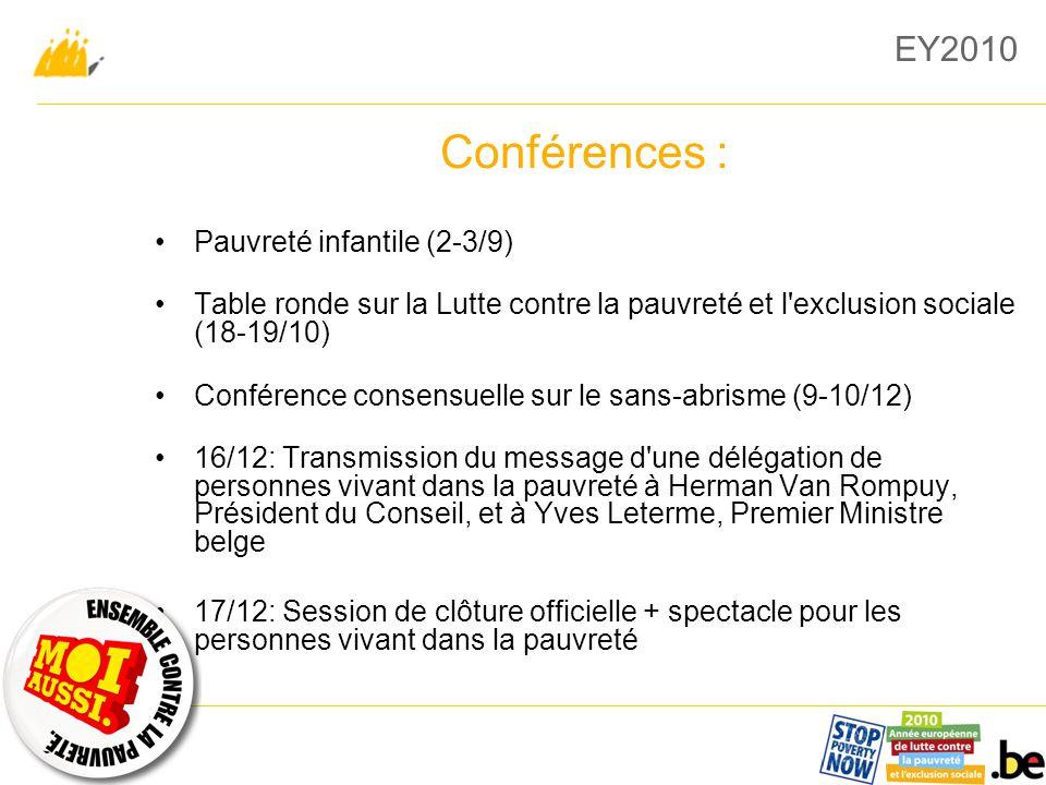EY2010 Conférences : Pauvreté infantile (2-3/9) Table ronde sur la Lutte contre la pauvreté et l exclusion sociale (18-19/10) Conférence consensuelle sur le sans-abrisme (9-10/12) 16/12: Transmission du message d une délégation de personnes vivant dans la pauvreté à Herman Van Rompuy, Président du Conseil, et à Yves Leterme, Premier Ministre belge 17/12: Session de clôture officielle + spectacle pour les personnes vivant dans la pauvreté