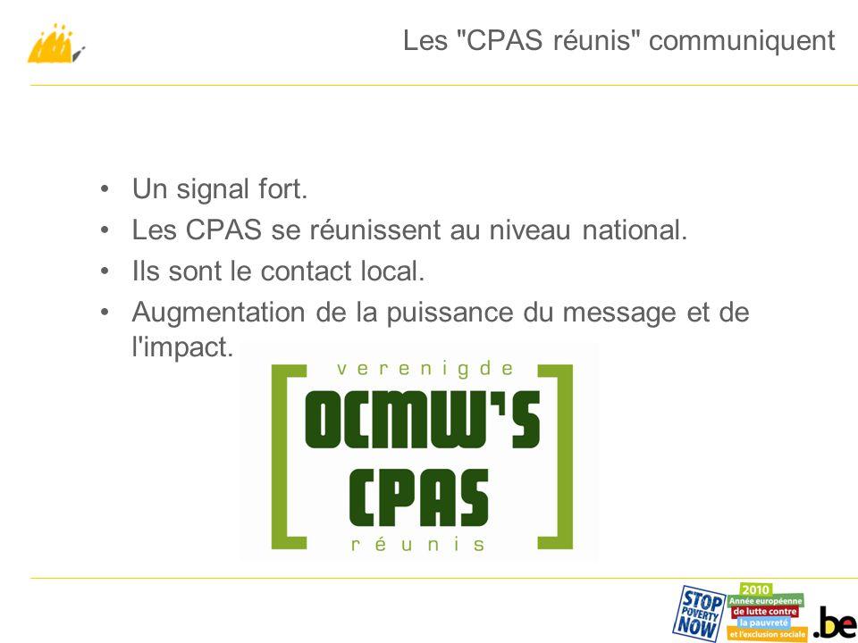 Un signal fort. Les CPAS se réunissent au niveau national.