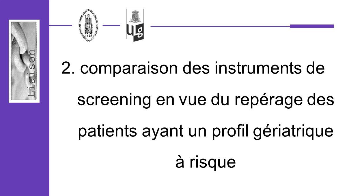 2. comparaison des instruments de screening en vue du repérage des patients ayant un profil gériatrique à risque