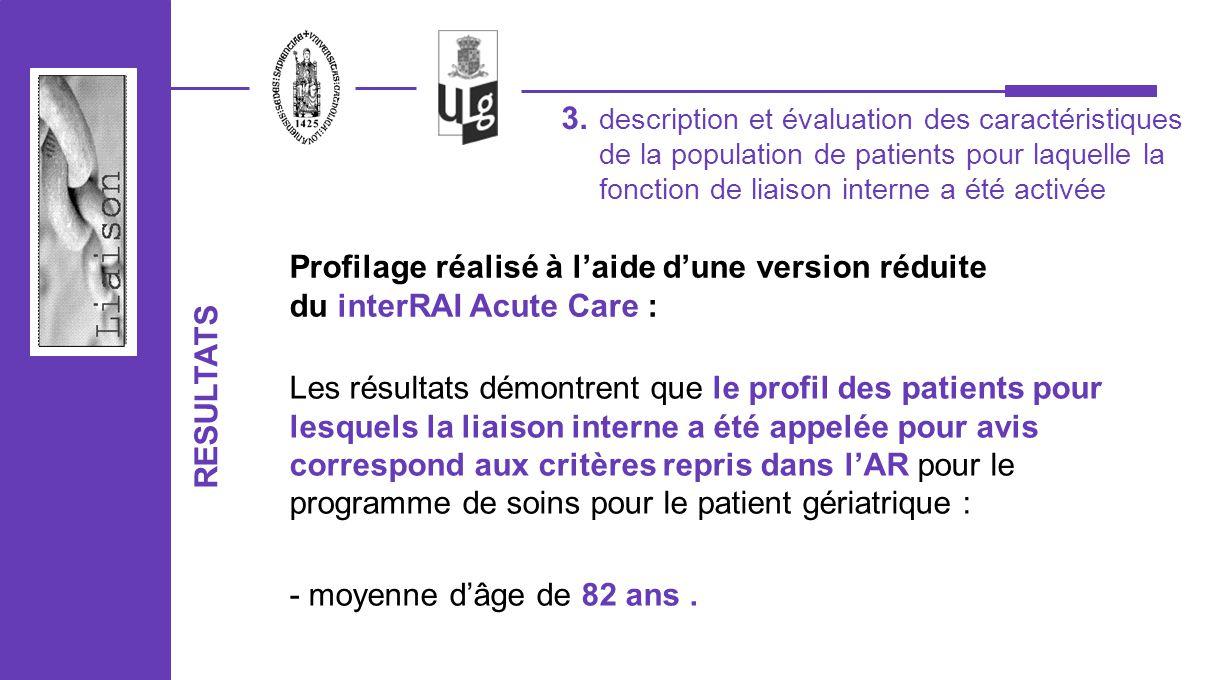 description et évaluation des caractéristiques de la population de patients pour laquelle la fonction de liaison interne a été activée 3. RESULTATS Le