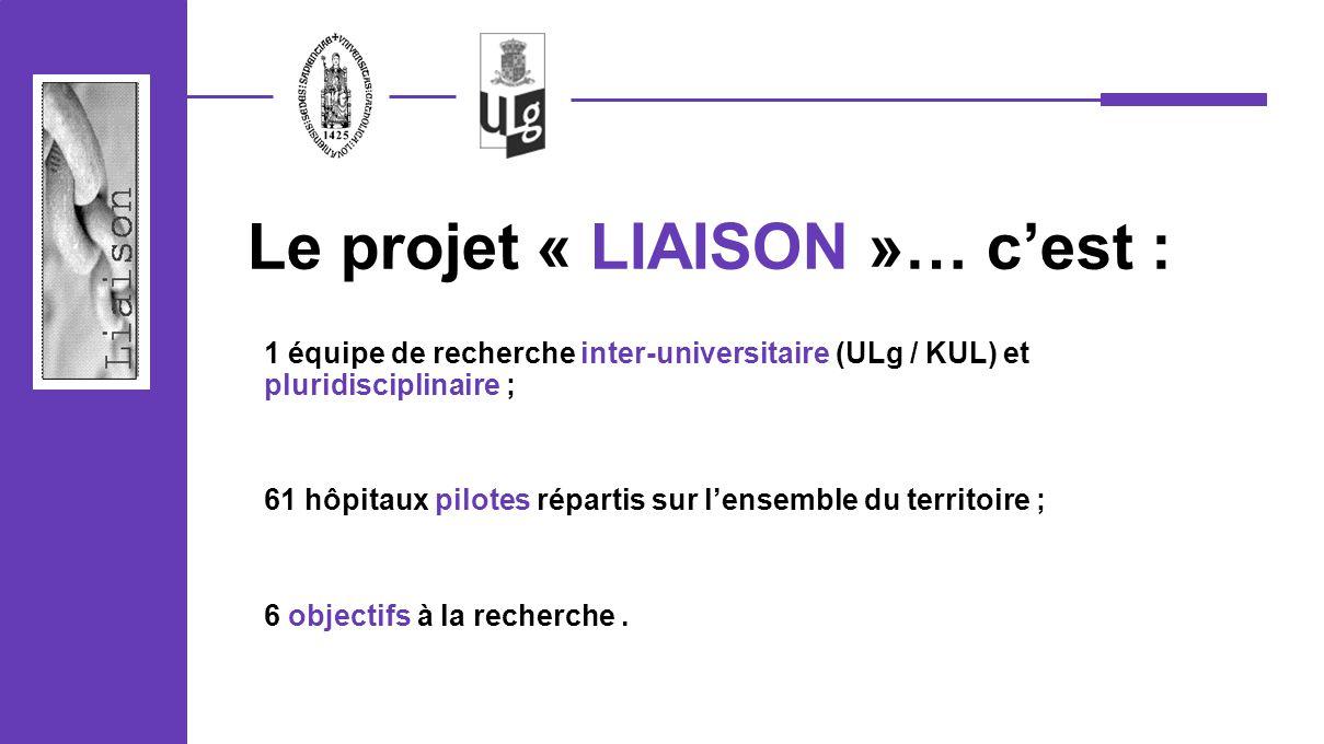 1 équipe de recherche inter-universitaire (ULg / KUL) et pluridisciplinaire ; 61 hôpitaux pilotes répartis sur lensemble du territoire ; 6 objectifs à