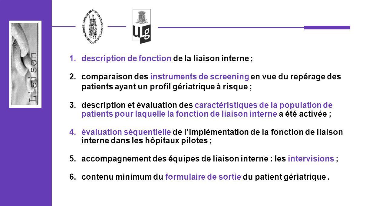 1.description de fonction de la liaison interne ; 2.comparaison des instruments de screening en vue du repérage des patients ayant un profil gériatriq